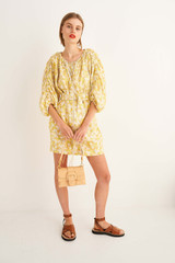 Oroton Mini Floral Dress in Mango and 100% Linen for female