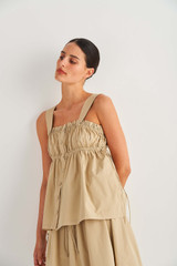 Oroton Multi Stitched Top in Wheat and 100% Cotton for female