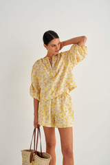 Oroton Mini Floral Short in Mango and 100% Linen for female