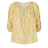 Oroton Mini Floral Top in Mango and 100% Linen for female