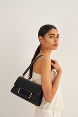 Oroton Edith Day Bag in Black and Smooth Leather for female