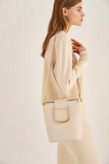 Oroton Cole Bucket Bag in Ecru and Smooth Leather for female