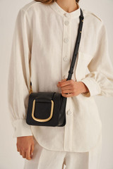 Oroton Cole Mini Day Bag in Black and Smooth Leather for female