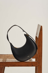 Oroton Arne Moulded Bag in Black and Smooth Leather for female
