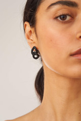Oroton Noa Earrings in Black/Worn Gold and Brass Based Metal With Precious Metal Plating/Powder Coating for female