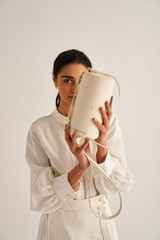Oroton Margot Drum Bag in Eggshell and Pebble Leather for female