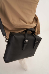 Oroton Oxley Griptop in Black and Pebble Leather for male