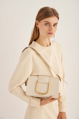 Oroton Cole Day Bag in Ecru and Smooth Leather for female