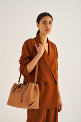 Oroton Margot Medium Day Bag in Husk and Pebble Leather for female