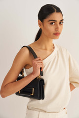 Oroton Edith Small Day Bag in Black and Smooth Leather for female