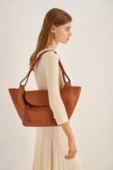 Oroton Clement Tote in Brandy and Pebble Leather for female