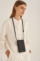 Oroton Cole Phone Crossbody in Black and Smooth Leather for female