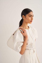 Oroton Aalto Small Shoulder Bag in Paper White and Pebble Leather for female