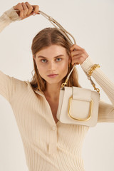 Oroton Cole Mini Day Bag in Ecru and Smooth Leather for female