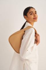 Oroton Aalto Small Shoulder Bag in Camel and Pebble Leather for female
