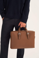 Oroton Oxley Griptop in Tan and Pebble Leather for male