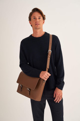 Oroton Oxley Satchel in Tan and Pebble Leather for male