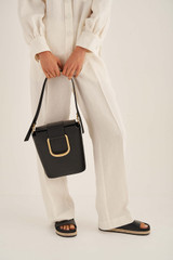 Oroton Cole Bucket Bag in Black and Smooth Leather for female