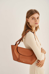 Oroton Clement Small Tote in Brandy and Pebble Leather for female