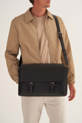 Oroton Oxley Satchel in Black and Pebble Leather for male