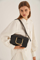 Oroton Cole Day Bag in Black and Smooth Leather for female