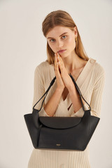 Oroton Clement Small Tote in Black and Pebble Leather for female