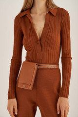 Oroton Cole Phone Crossbody in Cognac and Smooth Leather for female