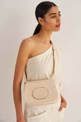 Oroton Lloyd Texture Day Bag in Ecru Texture and Snake Embossed Leather for female