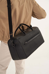 Oroton Weston Weekender in Black and Pebble Leather for male