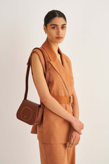 Oroton Lloyd Small Day Bag in Whiskey and Smooth Leather for female