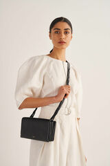 Oroton Jade Crossbody in Black and Smooth Leather for female