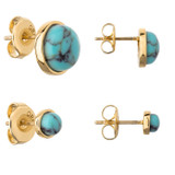 Oroton Arcadia Stud Set in Worn Gold/Turquoise and Brass Based Metal With Precious Metal Plating/Reconstitute Stone for female