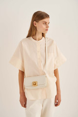 Oroton Savin Small Day Bag in Clotted Cream and Smooth Leather for female