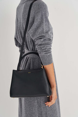 Oroton Muse Small Day Bag in Black and Saffiano / Smooth Leather for female