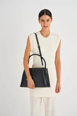 Oroton Muse Day Bag in Black and Saffiano / Smooth Leather for female