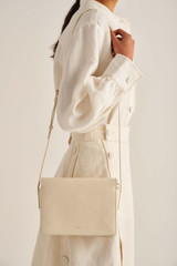 Oroton Margot Zip Crossbody in Eggshell and Pebble Leather for female
