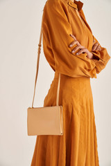 Oroton Muse Double Zip Crossbody in Mango and Saffiano / Smooth Leather for female