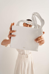 Oroton Jade Day Bag in Pure White and Smooth Leather for female