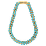 Oroton Arcadia Necklace in Gold/Turquoise and Brass Based Metal With Precious Metal Plating/Reconstitute Stone for female