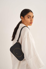 Oroton Lloyd Small Day Bag in Black and Pebble Leather for female