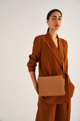Oroton Margot Zip Crossbody in Husk and Pebble Leather for female