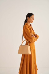 Oroton Muse Small Day Bag in Mango and Saffiano / Smooth Leather for female