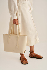 Oroton Margot Medium Zip Tote in Eggshell and Pebble Leather for female