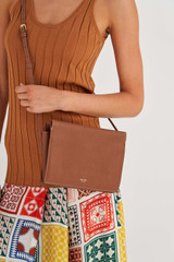 Oroton Margot Zip Crossbody in Whiskey and Pebble Leather for female