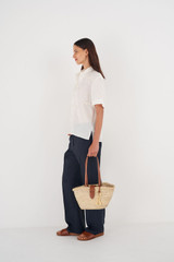 Oroton Madison Small Tote in Natural/Brandy and Straw/Smooth Leather Trims for female