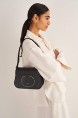 Oroton Lloyd Day Bag in Black and Pebble Leather for female