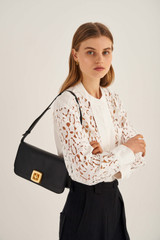 Oroton Savin Day Bag in Black and Smooth Leather for female