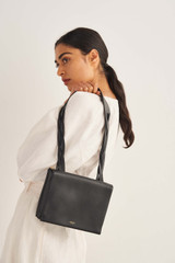 Oroton Jade Day Bag in Black and Smooth Leather for female