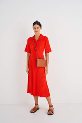 Oroton Muse Double Zip Crossbody in Cognac and Saffiano / Smooth Leather for female