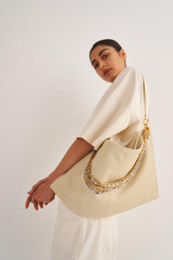 Oroton Pierre XL Day Bag in French Vanilla and Smooth Leather for female